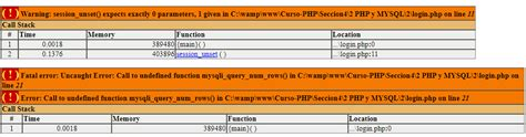 php - session_unset() expects exactly 0 parameters, 1