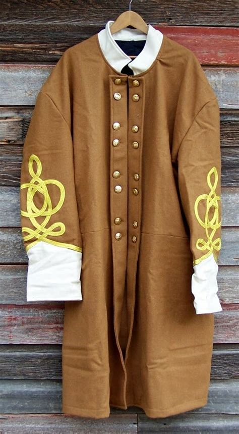 civil war confederate butternut frock coat with 4 row