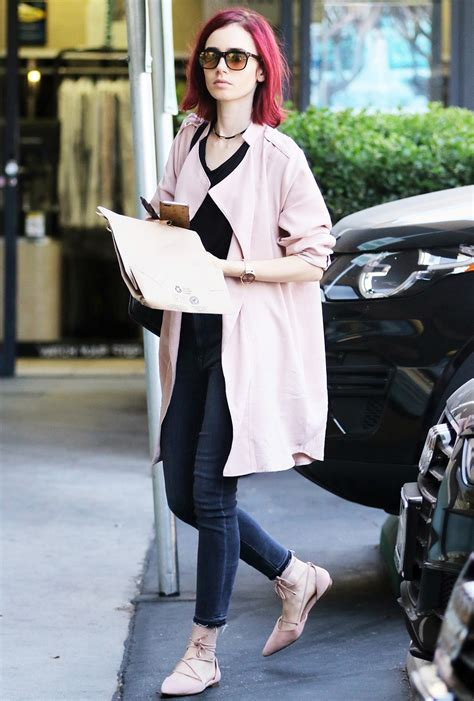 Lily Collins Looks Smashing in Hair to Toe Pink | InStyle